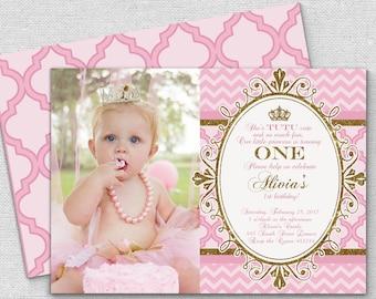 princess invitation pink gold crown invitation, pink gold crown chevron princess invitation, royal princess birthday quatrefoil invitation