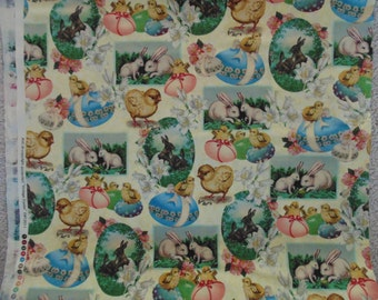 2 Yards Vintage Easter Cotton Fabric Chicks Bunnies Eggs Lilies