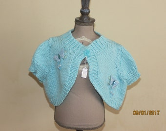 PALE TURQUOISE hand-knitted cotton bolero to fit 2-3 years