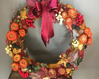 Autumnal wreath, fall wreath, halloween wreath, autumn wreath, berry wreath, pumpkin wreath, Autumn leaves, blackberries,