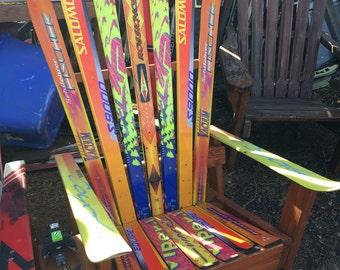Retro Handcrafted Unpainted upcycled ski Adirondack chair