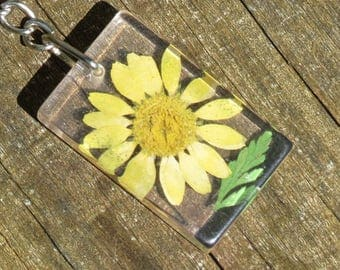 Natural Dried Yellow Flower Keychain!