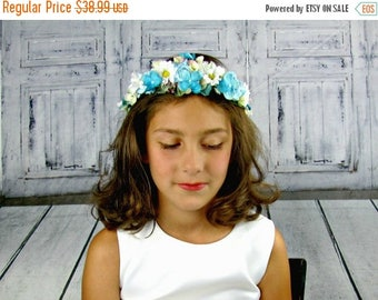 50% SALE Blue and White Flower Crown