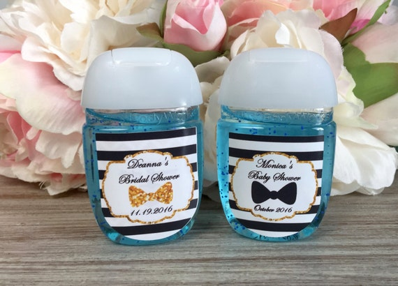 Little man hand sanitizer labels bow tie baby shower for Hand sanitizer bridal shower favors