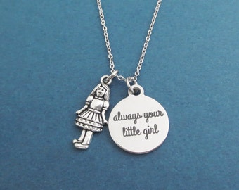 Always your little girl, Girl, Silver, Neclace, Birthday, Friendship, Best friends, Sister, Gift, Jewelry