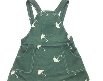 Vintage bottle green umbrella pattern dungaree pinafore dress age 12 months