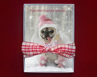 BOXED CHRISTMAS CARDS - pug christmas cards - 5x7 - Sparkle Pug Holiday Card