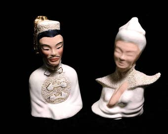 """Set of 2 Vintage Asian Man & Woman Ceramic Bust Sculptures in Ivory White and Gold, 6.25"""" High"""