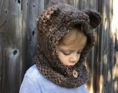 Chunky knit bear hood. 12/18 months. Barley