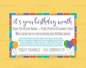 Rodan and Fields Birthday coupon - R+F birthday promo digital file - reach out - Rodan + Fields digital printable file