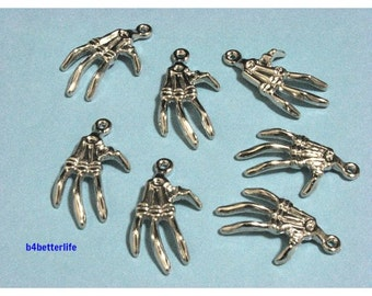 """Lot of 28pcs """"Skeleton Hand"""" Silver Color Plated PVC Charms. #XL622."""
