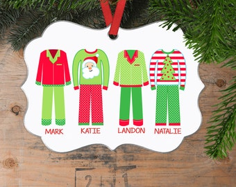 Christmas Pajama Christmas Ornament - Family Christmas Gift - Personalized Christmas Ornament