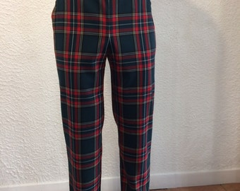 Pants with bridge man red yellow green tartan created original French production of quality black satin lining