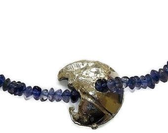 iolite necklace, silver pendant necklace, sterling silver pendant for women, beaded chain necklace, handmade, unique jewelry gift for her