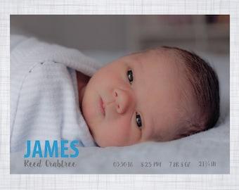 Birth Announcement. Baby Boy.
