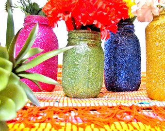 Fiesta Decorations Wedding Centerpieces, Glitter Jar, Pick your size and colors, Boho Indian Dinner,  African American Festivals