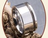 Cobalt Chrome Engravable Visible Pet Ash Cremation Jewelry Ladies Ring width 10mm RB046D