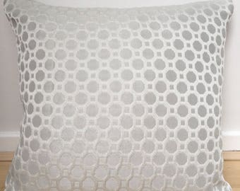 Cushion cover made from Honeycomb dove grey faux silk/jacquard fabric with white circles, pillow sham, pillow case, square cushion cover