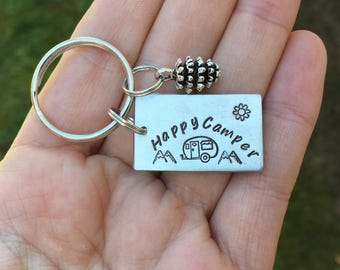 Happy Camper Keychain with Pinecone The Mountains Are Calling, Personalized Stamped Keychain, Adventure, Mountain jewelry, Outdoor, Hiking