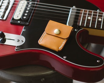 Guitar Pick Holder - Russet - Legacy Brand Leather Hand Stitched