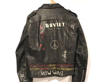 VINTAGE Hand-painted motorcycle Perfecto-style jacket