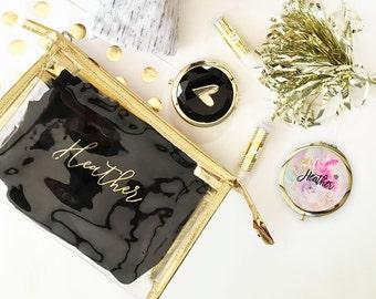 Cosmetic Bag - Gold Make up Bag - Monogram Makeup Bag - Personalized Cosmetic Bag - Toiletry Bag -Travel Makeup Bag - Bridal Party Gift 3167