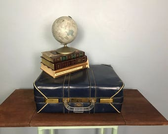 Vintage Blue Faux Leather Olympic Suitcase