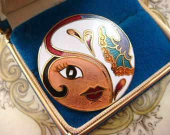 Vintage 1980s Art Deco Revival 20s Flapper Girl Brooch, Gilt Cloisonne Guilloche Enamel, Great Cond. Adorable! Vintage jewellery.