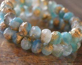 10 Czech Sea Glass Rondelle Beads 8x6mm- Caribbean Gold (729-10)