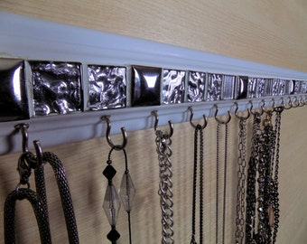 """Jewelry organizer .This necklace holder  silver glass mosaic tile design is 30"""" w/ 18  hooks.Necklace organizer jewelry storage"""