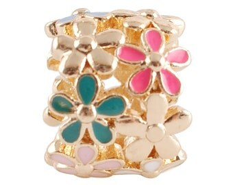 LM1844G ~ Gold, Silver, White, Blue and Pink Enamel Flower Cluster Charm for Wrap Charm Bracelets