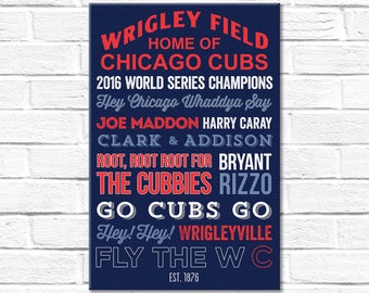 Chicago Cubs Art - Canvas or Poster - 2016 WORLD SERIES CHAMPIONS