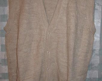 Natural Alpaca Knitted Men's Vest Size XL