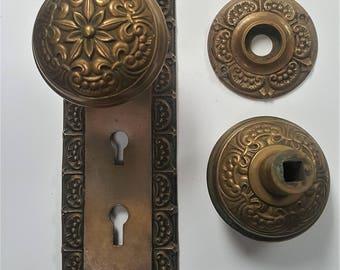 Fleur De Lys Antique Brass Entry Door Back Plate And Doorknobs