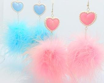 Hypoallergenic Faux Fur Earrings - Pom Pom Drop Earrings - Kawaii Pink Fuzzy Earrings - Pink or Blue Cotton Candy - Fluffy Drop Earrings