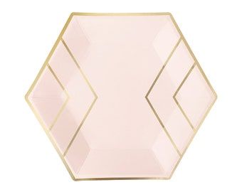 Blush Pink & Gold Paper Plates - Dinner - Hexagon Foil - Wedding Bridal Shower Bachelorette Party First Birthday Ideas - Nude Peach One Rose