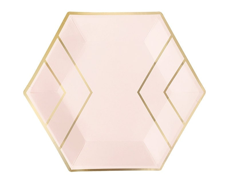 blush pink gold paper plates dinner hexagon foil. Black Bedroom Furniture Sets. Home Design Ideas