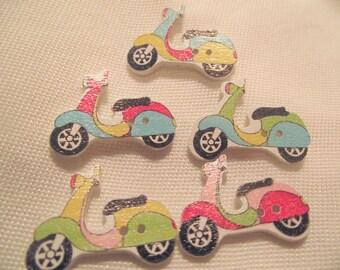 SCOOTER BUTTONS,Craft Buttons,Sewing Notion,2 Hole Button,VESPA Buttons,10 Pc. Button Set,Scrapbook Buttons,Kids Cloths Buttons,Motor Bikes