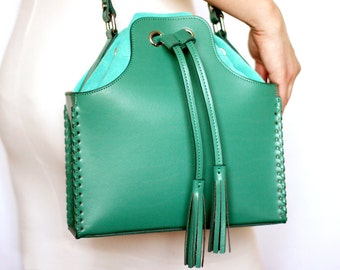 Free shipping! Green bag, bucket bag, green leather bag, woman bag, bucket bag, shoulder bag, suede bag, turquoise bag, teal bag, crossbody