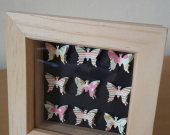 """Colourful Paper Butterflies Art on Black Cardboard in Natural Wooden 3x3"""" Frame"""