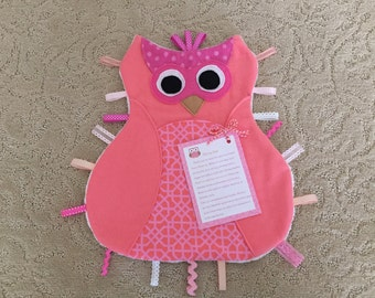 Handmade One  of a Kind Olivia Owl Sensory, Ribbon, Tag , Lovie Baby Blanket