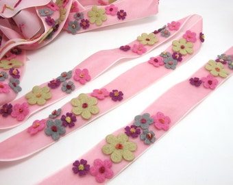 1 Inch Pink Felt Flower with Yarn Embroidery on Pink Velvet Ribbon|Sewing|Quilting|Craft Supplies|Hair Accessories|Necklace DIY|Costumes