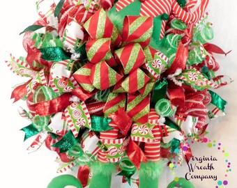 Elf Wreath, Christmas Deco Mesh Elf Wreath, Christmas Elf, Christmas Elf Wreath, Deco Mesh Wreath, Christmas Decor, Door Hanger, Elf Decor