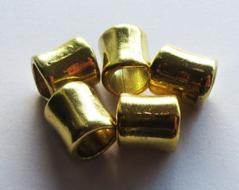 5 Large Hole Antique Gold Tibetan Tube Beads, Metal Alloy 12x11mm, Hole 8mm