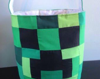 Minecraft Creeper Inspired Bucket Basket