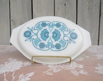 Pyrex Blue Horizon White lid, Replacement Casserole lid 945 C-11, Blue Pyrex Lid, 2 1/2 Qt Oval casserole lid, Vintage Lid, Large Oblong lid