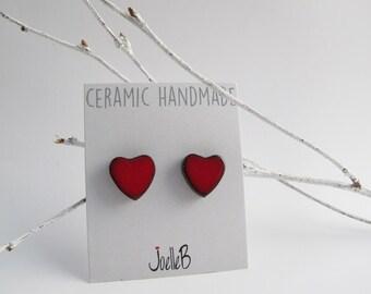 Heart stud earrings, Ceramic earrings, Red heart earrings, Valentines earrings, Mothers Day gift