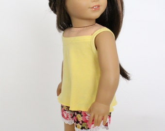 18 inch girl doll clothes - Summer Fun: Floral Summer Shorts with Flared and Strappy Tank Top