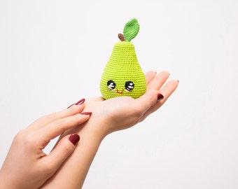 Green Crochet Pear baby toy , Kawai Plush eco-friendly play food toy, baby shower gift, amigurumi fruit kitchen decor