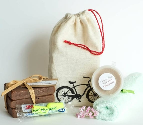 TRAVELER | Drawstring Bag with (3) 1oz Toasted Vanilla Bars - Coconut Deodorant 1oz - Bamboo Cloth - Ear Plugs (noise reduction 33 decibels)